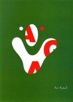 補色をつかったインパクト:Paul Rand _ AIGA poster (1968)