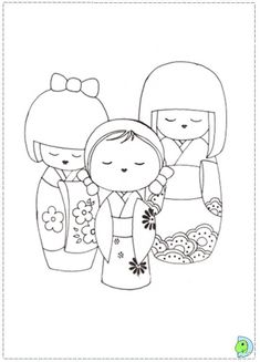 Kokeshi Doll Coloring Pages | Coloring page