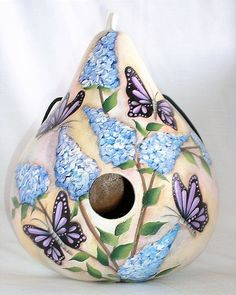 Gourd Birdhouse with Butterfly Bush and Butterflies - Hand Panted Gourd Birdhouse Butterfly Bush, Purple Butterfly, Blue Flowers, Halloween Gourds, Hand Painted Gourds, Gourds Birdhouse, Gourd Art, Bird Houses, Butterflies