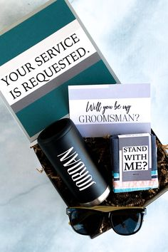 It's time to Suit Up! When the groom asks 'Will You Be My Groomsman?' with our Groomsman or Best Man Proposal Box, his friends and family will get groomsmen gifts they love. It's the perfect (and super convenient) way to make his groomsmen ask happen. Our Groomsmen Gift Box contains unique groomsmen gifts that are beautifully packaged in an already-done-for-you groomsmen proposal box. Or make it easy on yourself and use this groomsmen ask gift as a groomsmen thank you gift for the wedding weeken Asking Groomsmen, Groomsmen Proposal, Groomsmen Invitation, Groomsmen Gift Box, Bridesmaid Proposal Box, Bridesmaids And Groomsmen, Bridemaids Boxes, Country Wedding Groomsmen, Disney Bridesmaids