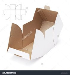 Empty Open Cube Box With Die Cut Template Stock Photo 336073607 : Shutterstock