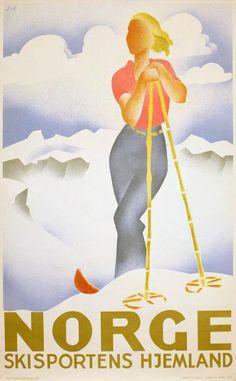 Poster: Norge - Skisportens hjemland Artist: Gert Jynge (J) & Bjarne Engebret (E)