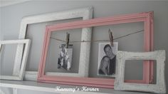 Love this idea! You could still use frames without glass or backs- just paint them a pretty color, attach twine across, and use clothespins to hang pics inside the open frame! Cute. :)