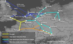 Route map, train travel from London to Germany Train Map, Train Route, By Train, Train Travel, Utrecht, Rotterdam, Eurotrip, Berlin Germany, Munich
