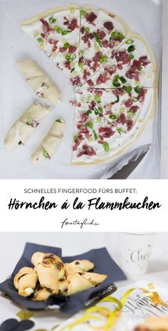 Fast finger food for the buffet: croissants à la Flammkuchen .- Schnelles Fingerfood fürs Buffet: Hörnchen á la Flammkuchen. Silvester Fast finger food for the buffet: croissants à la Flammkuchen. New Year& Eve – – - Party Finger Foods, Snacks Für Party, Toast Pizza, Party Buffet, The Best, Healthy Snacks, Snack Recipes, Food Porn, Food And Drink