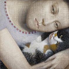 Vladimir Dunjić is an Serbian painter, known for working in the Abstract/Figurative style. For biographical notes and earlier works by Vladimir Dunjić see part Illustrations, Illustration Art, She And Her Cat, Nine Cat, Pretty Cats, Pretty Kitty, Famous Artists, Crazy Cats, Figurative Art