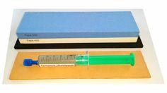 Messer-Schärf-Set, 3-teilig, 6cm breiter Korund 220/400 + Leder + Polierpaste - Bild vergrößern