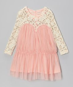 Take a look at this Pink & Cream Lace Tulle Dress - Toddler & Girls on zulily today!