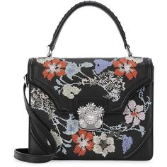 Womens Shoulder Bags Alexander McQueen Floral-embroidered Leather... (164.810 RUB) via Polyvore featuring bags, handbags, shoulder bags, woven leather handbag, floral leather handbag, genuine leather purse, woven handbags и shoulder handbags