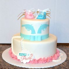 Gender Reveal Cake Pistols or Pearls  By www.freshbakedva.com Birthday Cake…