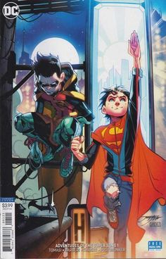 Adventures of the Super Sons, Vol. Action Detectives by Peter J. Damian Wayne, Comic Book Covers, Comic Books Art, Comic Art, Character Drawing, Comic Character, Character Design, Super Sons, Batman Y Superman