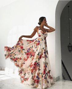 Image of Sexy Sleeveless Floral Print Maxi Dress Backless Long Dress, Sexy Maxi Dress, White Maxi Dresses, Sexy Dresses, Casual Dresses, Long Dresses, Dress Skirt, Hijab Dress, Dress Long