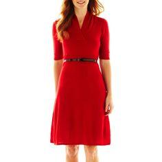 jcpenney - R&K Originals® Belted V-Neck Sweater Dress - jcpenney