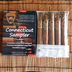This 5 Pack includes cigars from our Exclusiva, Santa Ana, and La Reina Collections.  $17.50 www.palomino-cigars.com  Included is one Exclusiva Pyramid Toro, one Santa Ana Toro, one Santa Ana Torpedo, one La Reina Toro, and one La Reina Torpedo, all with our US Connecticut wrapper.