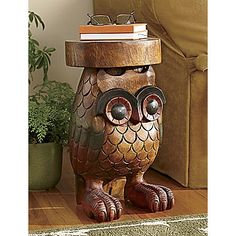 Owl Table #table #owl #handcarved #wood
