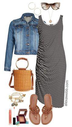 Plus Size Summer Striped Dress Outfit - Plus Size Summer Outfit Idea - Plus Size Fashion for Women - alexawebb.com #alexawebb #plussize