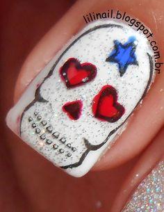 Super cool skull stamping nails!