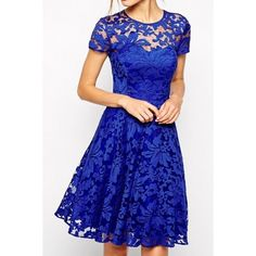 Royal Blue Fairy Lace Skater Dress ($19) ❤ liked on Polyvore featuring dresses, royal blue, cap sleeve cocktail dress, cocktail party dress, floral prom dresses, lace skater dress and holiday party dresses
