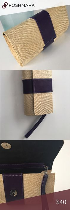 Kaija NY handmade clutch Handmade, natural material Kaija NY clutch designed by Khrisna Justo. Deep purple leather wraparound stripe and optional purple leather wristlet included. Snap closure. Comes with branded storage bag. Perfect for spring/summer styles or eco conscious shoppers. This brand supports impoverished women of the Phillipines through empowerment and employment. Bag brand new and never used. Kaija NY Bags Clutches & Wristlets