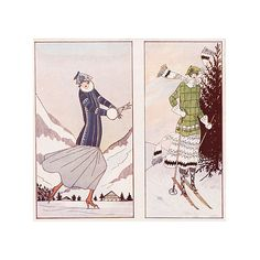 Pre-Owned 1930s French Ski  & Skating Fashion (530 QAR) ❤ liked on Polyvore featuring home, home decor, white home decor and french home decor