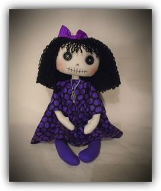 Handmade unique goth cloth art doll by gothic moppets on facebook, cute or creepy?