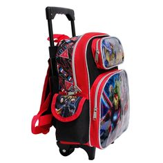 Marvel Avengers Infinity War Black and Red Small Boys Rolling School  Backpack -- Visit the image link more information. 8885fcf79a269