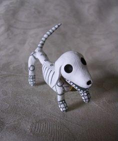 miniature weenie dogs | Day of the Dead Dachshund Skeleton Weenie Dog by ClayLindo on Etsy