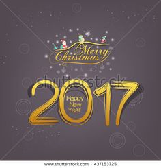 Merry christmas and New Year 2017. gold shadow