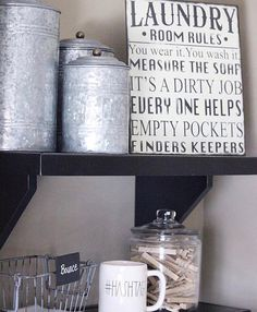 Beth's photo inspires Laundry Room Goals! Thx for including our Galvanized Canisters in your lovely #laundryroom.