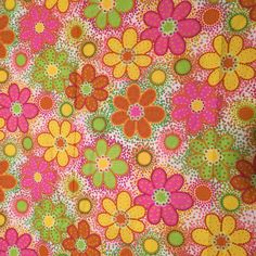 """Vintage 60s 70s Floral Fabric Print Mod Floral Flowers Daisy Circle Circles Pink Green Yellow Orange White 45""""wide  x 3 yards Cotton Yardage by CarolinaThriftChick on Etsy"""