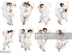 Stock Photo : composition of sleep pose beautiful love couple  with pajamas isolated