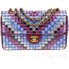 Pre-owned Chanel Runway Red Multicolor Lambskin Medium Flap Bag With Mosaic Embroideries By Lesage