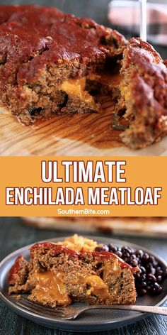 This cheesy Ultimate Enchilada Meatloaf adds tons of great Mexican flavor into the classic recipe. It's packed with green chiles, […] Meatloaf Recipes, Meat Recipes, Mexican Food Recipes, Low Carb Recipes, Food Processor Recipes, Snack Recipes, Cooking Recipes, Taco Meatloaf, Mexican Meatloaf