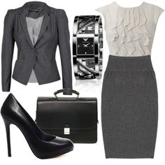 Office Chic -I love this. Well, I love the blouse, skirt, and jacket. I'd switch the other stuff.
