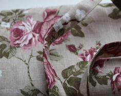 Linen tote bag ivory gray linen and lace custom made by cikucakuu