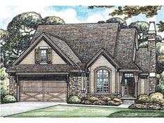 Sherwood Trail Tudor Style Home Stunning Tudor Home Features Stone Accents On Exterior from houseplansandmore.com