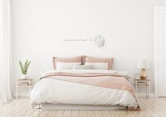 Light, cute and cozy home bedroom interior with unmade bed, pink plaid and cushions on empty white wall background. Unmade Bed, Photo Deco, Cozy Bed, Home Bedroom, Master Bedroom, Master Suite, Cozy House, Colorful Decor, White Walls