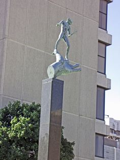 """""""Hand of God"""" by Carl Milles. Sculpture. Located at 1441 Saint Antoine Street near the intersection with Gratiot in downtown Detroit. Installed 2011."""