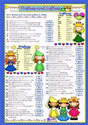 English worksheet: WORD FORMATION - 3***PREFIXES&SUFFIXES*** (B&W+KEY…