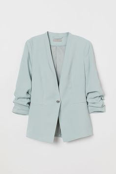 Gently tailored jacket in woven fabric with a metal fastener at the front, welt front pockets and sleeves with gathered seems. Blazer Outfits Casual, Edgy Outfits, Classy Outfits, Fashion Outfits, Mint Green Outfits, Mint Green Clothes, Mint Green Blazer, Tailored Jacket, Sweatshirts