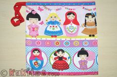 "Bolsa ""Muñecas"". Bolsa para pañales, toallitas, merienda y muda. Change clothes bag. Drawstring bag."