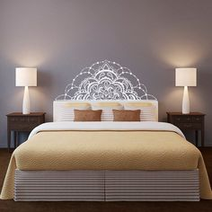 Half Mandala Wall Decal Headboard Wall Decal Half by FabWallDecals