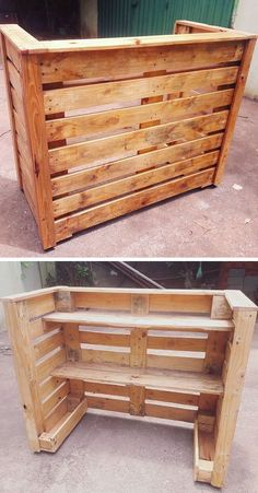 Pallet outdoor bar The post Best 33 Repurposing Pallet Side Multifunctional Storage Shelf Sensod Create. appeared first on Pallet Diy. Palet Bar, Outdoor Pallet Bar, Wood Pallet Bar, Wooden Pallet Projects, Wooden Pallets, Outdoor Bars, Pallet Diy Decor, Pallet Bar Stools, Pallet Decorations