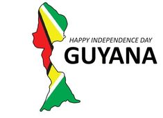 Guyana true map with flag in independence day