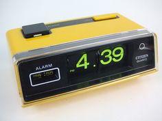 Citizen Flip Alarm Battery Clock Yellow