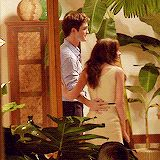 Rob and Kristen | Behind the Scenes - BD Part I - I love how Kristen grabs his pants pocket!  So cute!