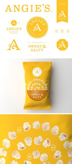 Unbelivable cute and innocent yet stylish and fun design! Angie's Kettle Corn by Sam Soulek, via Behance Brand Identity Design, Graphic Design Branding, Logo Design, Food Packaging Design, Brand Packaging, Web Design, Layout Design, Packaging Inspiration, Popcorn Packaging