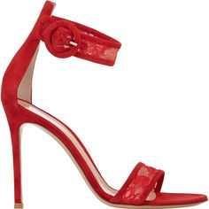 Gianvito Rossi Lace-Inset Ankle-Strap Sandals (€705) found on Polyvore featuring shoes, sandals, heels, red, red heel sandals, ankle tie sandals, open toe shoes, ankle strap heel sandals and buckle sandals