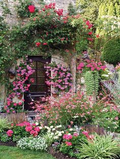 Tuinposter 'Bloemen tuin met omgroeide deur'