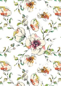 Orchard Blossom wallpaper or fabric design on sale at…